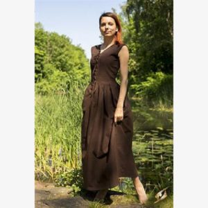 Peasant Dress - Dark Brown - Size M