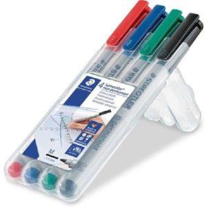 Water Soluble Markers, voor battlemat set van 4 rood, zwart, groen, blauw