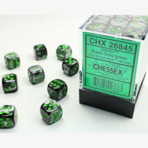 dobbelset 36xD6 Gemini Black-Grey / Green