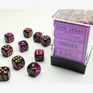 dobbelset 36xD6 Gemini Black-Purple / Gold