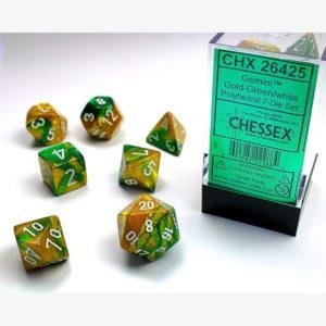 dobbelset Poly Gemini Gold-Green / White