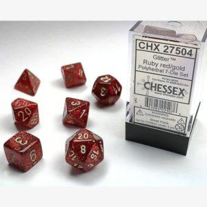 dobbelset Poly Glitter Ruby Red/Gold